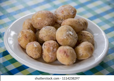 Plate with wrinkled potatoes in a restaurant in Tenerife, Canary Islands