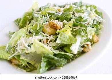 A plated caesar salad.