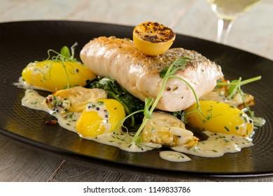 plated fish cod loin main meal