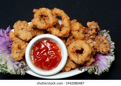 Plated Fried Calamari With Cocktail Sauce