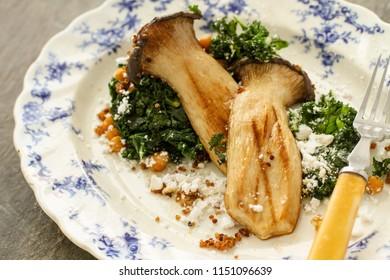 plated porcine mushroom appetizer