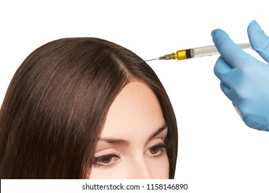 platelet rich plasma. Isolated white background. cosmetology hair injection.