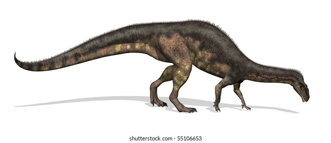 Plateosaurus dinosaur - 3D render. This dinosaur lived during the late Triassic period. Adults measured between 16 to 33 feet long.