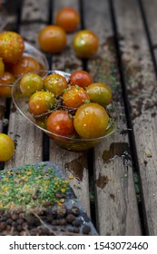 plates of cherry tomatoes seasoned with herbs and olive oil