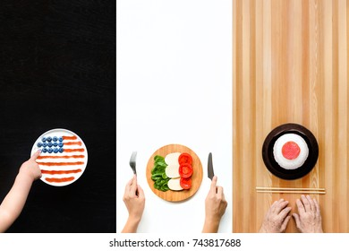 Plates of food in the form of flags of America, Italy and Japan. The concept of travel.