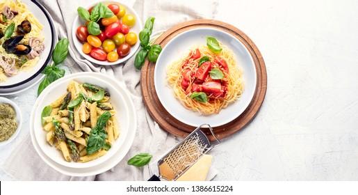 Plates of pasta. Italan food. Top view