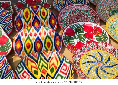 Plates and pots on a street Chorsu bazaar in the city of Tashkent, Uzbekistan.