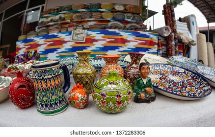 Plates and pots on a street market in the city of Bukhara, Uzbekistan