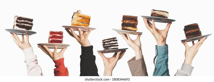 Plates with seven different sweet desserts, hands holding plates on top. Tasting, dessert selection, gastronomy, concept for menu or advertising - Shutterstock ID 1808344693