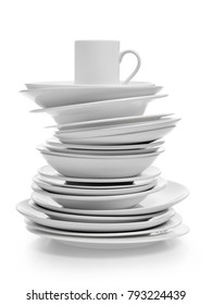 Plates stack on white