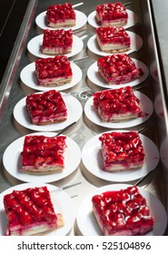 Plates with strawberry cake