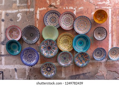 Plates, tajines and pots made of clay on the souk in Chefchaouen, Marocco, Africa