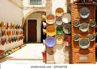 Plates, tajines and pots made of clay on the souk in Chefchaouen, Marocco