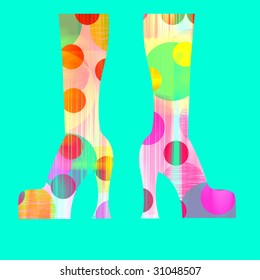 platform boots with paths in colors over blue background