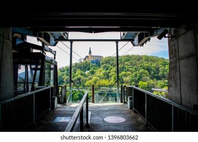 Platform of cable car to Vetruse castle in Usti nad Labem (Czechia)
