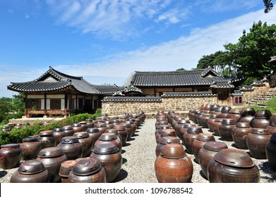 Platform for crocks of sauces and condiments at the built in 1709 MyeongJae Korean traditional house, in Nonsan, South Korea