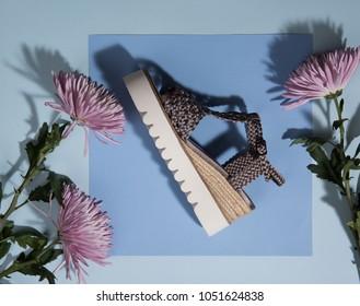 Platform Sandal on Blue Background with Flowers