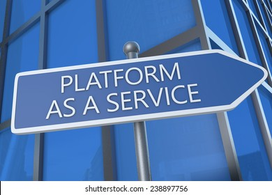 Platform as a Service - illustration with street sign in front of office building.