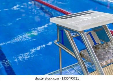 platform starting in swimming pool.