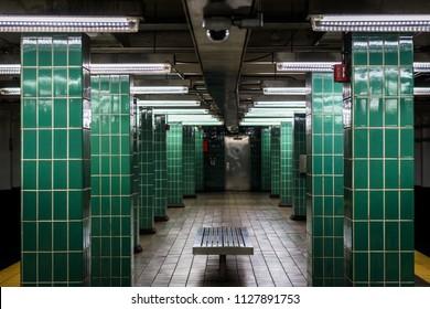 Platform at Tasker Morris Station, in South Philadelphia, Pennsylvania.