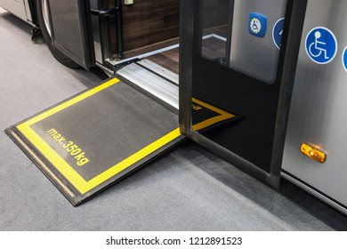 platform for wheelchairs in the cabin of a modern and comfortable city bus or electric bus.