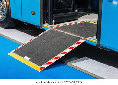 platform for wheelchairs in the cabin of a modern and comfortable city bus or electric bus