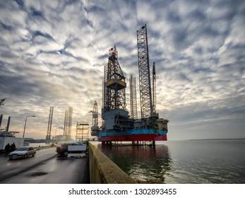Platforms in Esbjerg offshore oil harbor, Denmark