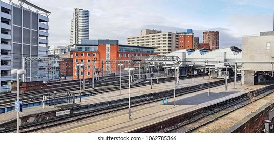 The platforms of Leeds railway station, West Yorkshire, UK