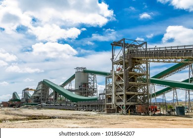 Platinum Mining and Processing of ore, Piles of ore rock being moved and stored