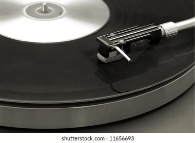 Platinum or vintage style photo of a turntable
