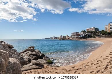PLATJA D ARO,SPAIN-MARCH 4,2014:Mediterranean beach in Costa Brava, Platja d Aro,Catalonia,Spain.