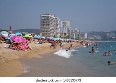 Platja d'Aro, Spain, July 5, 2019. Beach view