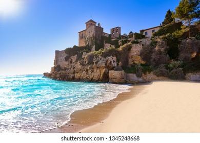 Platja de Tamarit in Altafulla of Tarragona at Catalonia and Castle