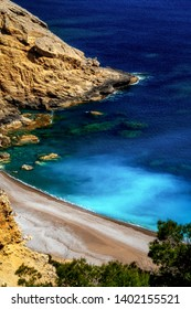 Platja del Coll Baix summer beach with beautiful blue turquoise water in north part of m mallorca