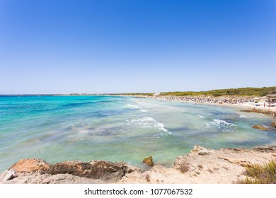 Platja d'es Trenc, Mallorca, Spain - Far view onto turquoise water at the beach of Platja d'es Trenc
