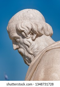 Plato the ancient philosopher marble statue head under blue sky background, Athens Greece