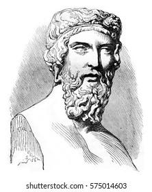 Plato, vintage engraved illustration. Magasin Pittoresque 1842.