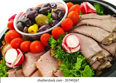 Platter of assorted cold cut meat slices
