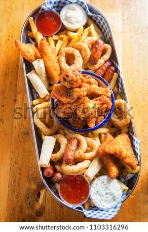 Platter Chicken Goujons Crispy Chicken Wings Stock Photo Edit Now