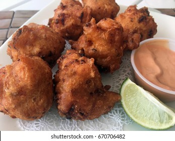 Platter of Conch Fritters with Aioli, The Bahamas