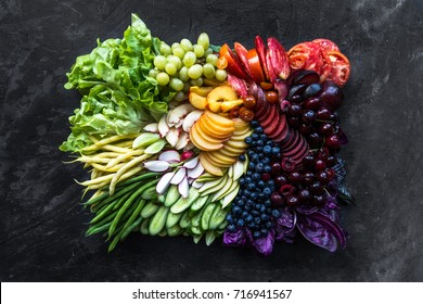 Platter of fruits and veggies arranged in a color gradient pattern