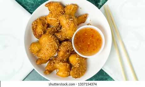 A platter of Thai Coconut Shrimp with sweet sauce