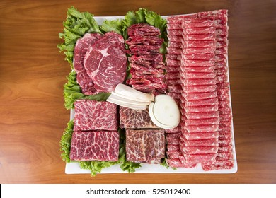 Platter of Thinly Sliced Raw Beef for Korean BBQ