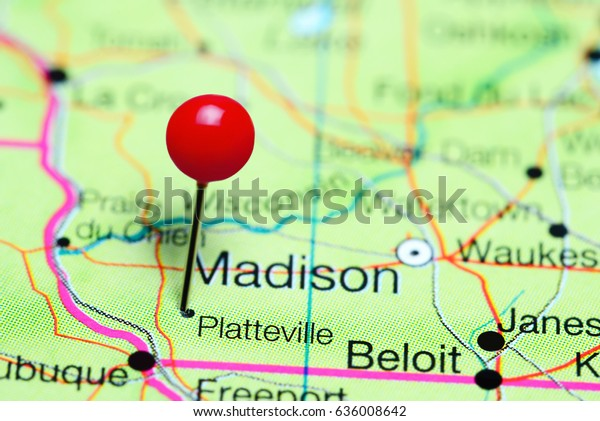 Platteville Pinned On Map Wisconsin Usa | Royalty-Free Stock ...