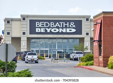 PLATTSBURGH, USA - AUGUST 23, 2017 : Bed Bath Beyond and logo. Bed Bath Beyond Inc. is an American-owned chain of domestic merchandise retail stores