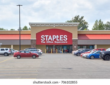 PLATTSBURGH, USA - AUGUST 23, 2017 : Staples store and logo. Staples, Inc. is an American multinational office supply retailing corporation, with over 1,500 stores in North America.