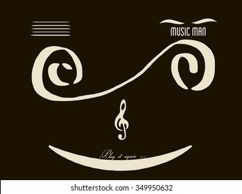Play It Again Text Music Man Abstract Smiley Face