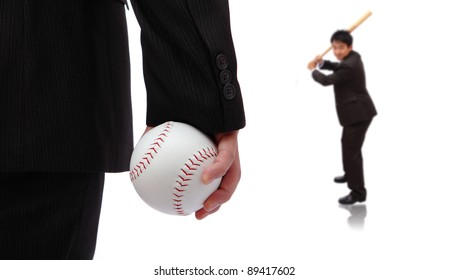 Play Ball ! Business man take baseball ready to pitching