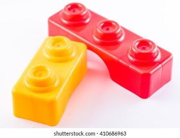 Play building blocks over white background