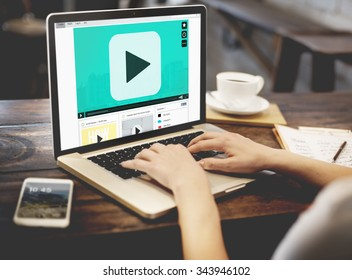 Play Button Audio Video Media Technology Concept